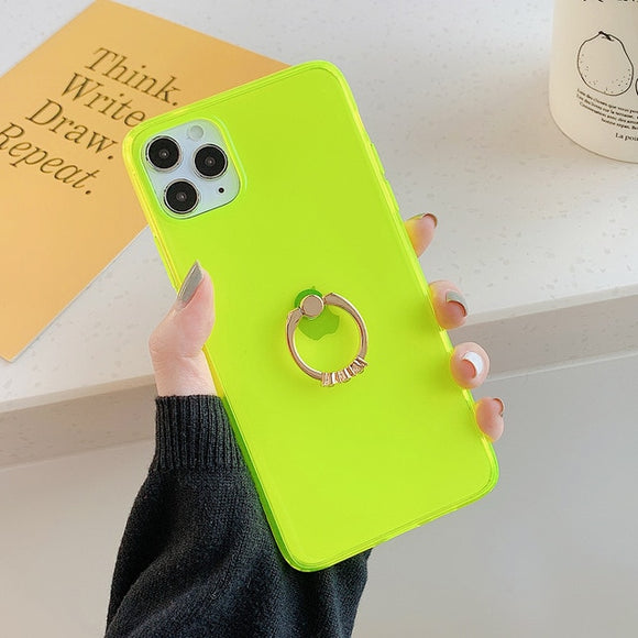 Transparent Neon Case With Finger Ring Holder Back Cover For iPhone 11 Promax- Lime