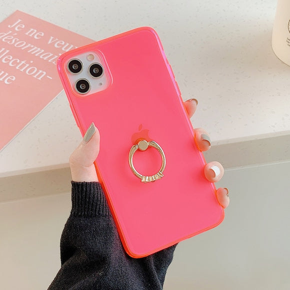 Transparent Neon Case With Finger Ring Holder Back Cover For iPhone 11 Promax- Pink
