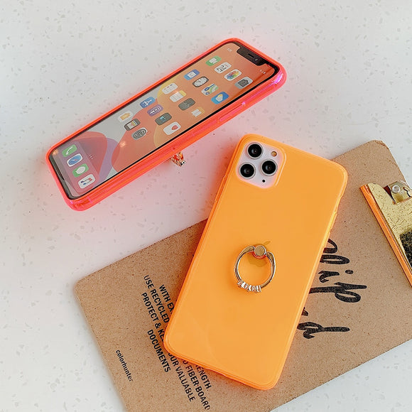 Transparent Neon Case With Finger Ring Holder Back Cover For iPhone 11 Promax- Orange