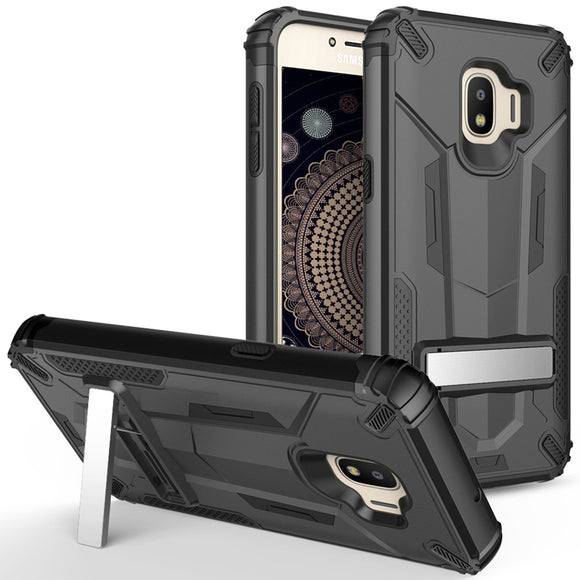 For Samsung Galaxy J2 / J2 Pure - Hybrid Transformer Case with Kickstand and UV Coated PC/TPU Layers - BLACK