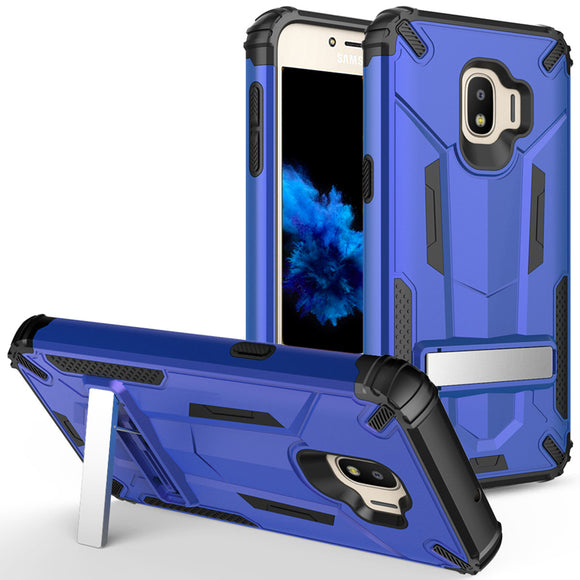 For Samsung Galaxy J2 / J2 Pure - Hybrid Transformer Case with Kickstand and UV Coated PC/TPU Layers - BLUE