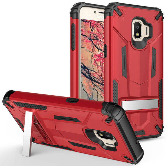 For Samsung Galaxy J2 / J2 Pure - Hybrid Transformer Case with Kickstand and UV Coated PC/TPU Layers - RED