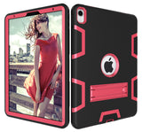 "For New iPad Pro 11 inch 2018 Kids Safe Shockproof Protect Silicone PC Shell kickstand Case Funda For iPad Pro 11"" (2018) Cover - Black / Pink"