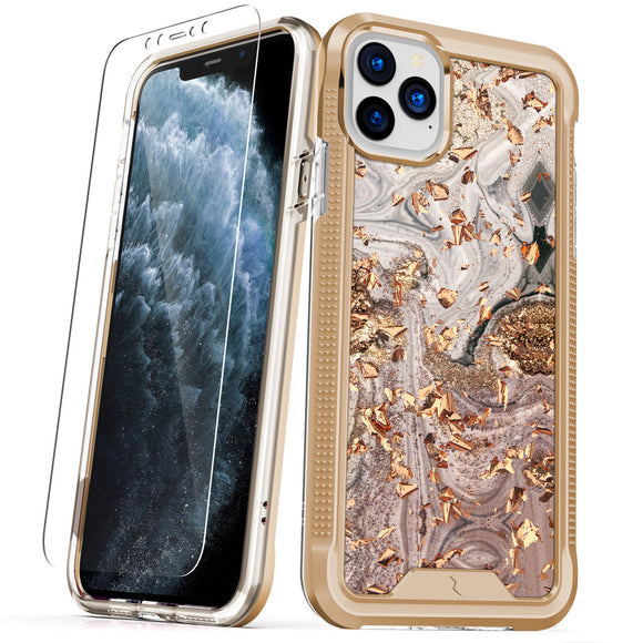 ZIZO ION iPhone 11 Pro (2019) Case - Triple Layered Hybrid Case with Tempered Glass Screen Protector - Gold Swirl