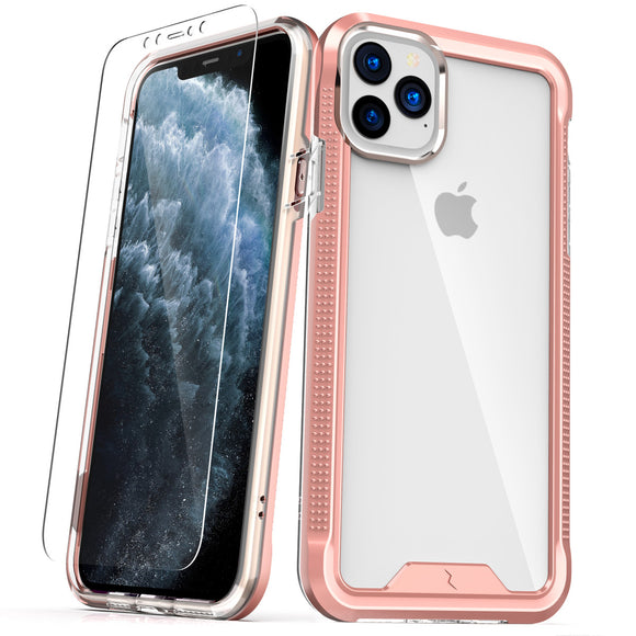 ZIZO ION iPhone 11 Pro (2019) Case - Triple Layered Hybrid Case with Tempered Glass Screen Protector - Rose Gold