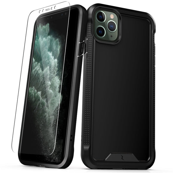 ZIZO ION IPHONE 11 PRO MAX (2019) CASE - TRIPLE LAYERED HYBRID CASE WITH TEMPERED GLASS SCREEN PROTECTOR-Black