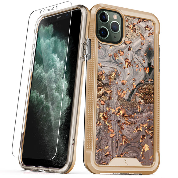 ZIZO ION IPHONE 11 PRO MAX (2019) CASE - TRIPLE LAYERED HYBRID CASE WITH TEMPERED GLASS SCREEN PROTECTOR-Swirl