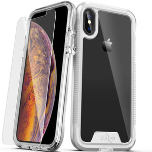 ZIZO ION FOR IPHONE X / XS -TRIPLE LAYERED HYBRID COVER W/ TEMPERED GLASS SCREEN PROTECTOR- SILVER