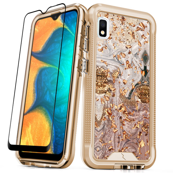 ZIZO ION Samsung Galaxy A10e Case - Triple Layered Hybrid Case with Tempered Glass Screen Protector - Glod swril