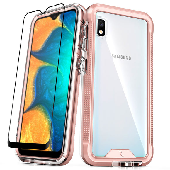 ZIZO ION Samsung Galaxy A10e Case - Triple Layered Hybrid Case with Tempered Glass Screen Protector - Rose gold / clear