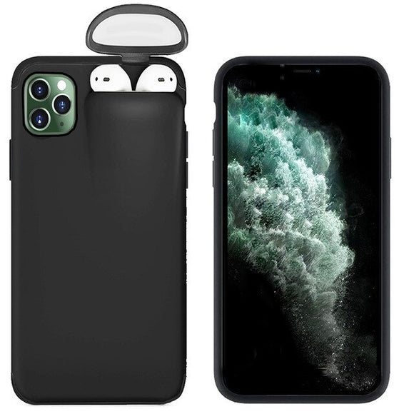For Apple iPhone 11 Pro Max Cover For AirPods Earphone Holder Hard Case - Black