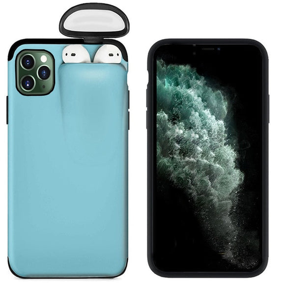 For Apple iPhone 11 Pro Max Cover For AirPods Earphone Holder Hard Case - Blue