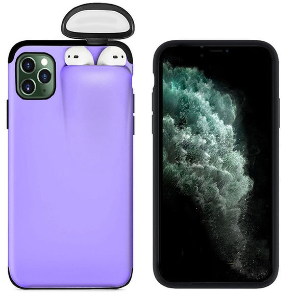 For Apple iPhone 11 Pro Max Cover For AirPods Earphone Holder Hard Case - Purple