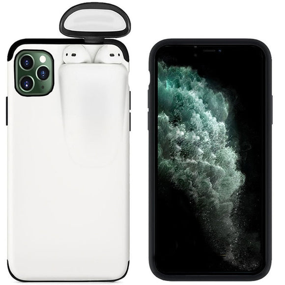 iPhone 11 Pro with Cover for AirPods 2 1 Holder Hard Case for AirPods Case - White