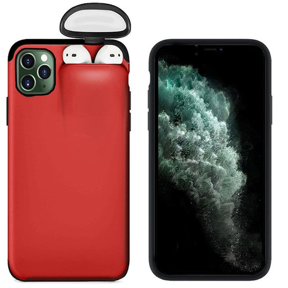 For Apple iPhone 11 Pro Max Cover For AirPods Earphone Holder Hard Case - Red