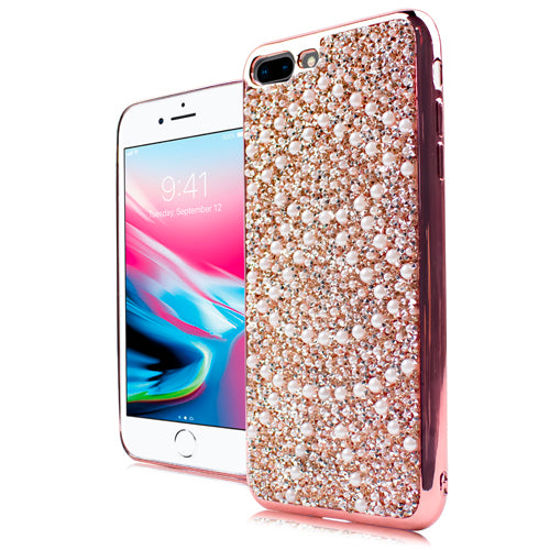 iPhone 8 Plus /7P CHROME ONYX Pearl Case Rose Gold