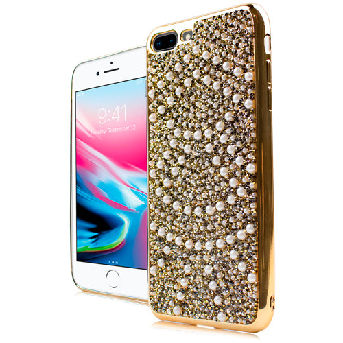 iPhone 8 Plus /7P CHROME ONYX Pearl Case Gold