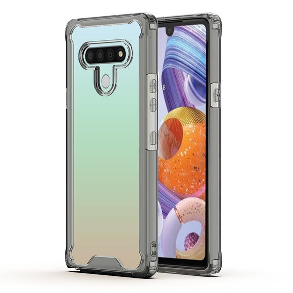 LG STYLO 6 High quality TPU Bumper and Clarity PC Case In Black