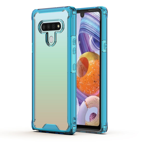 LG STYLO 6 High quality TPU Bumper and Clarity PC Case In Blue