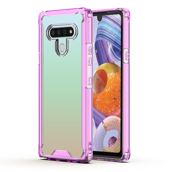 LG STYLO 6 High quality TPU Bumper and Clarity PC Case In PURPLE