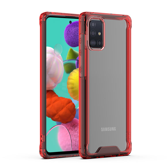 SAMSUNG GALAXY A51 High quality TPU Bumper and Clarity PC Case In Red