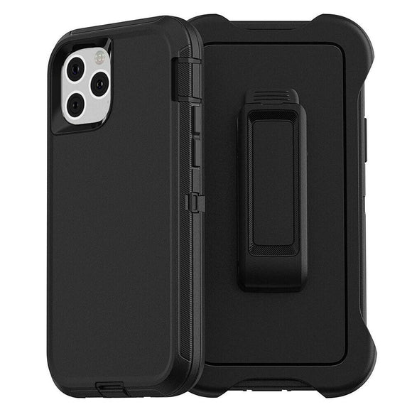 iPhone 11 PRO Hybrid Shockproof Defender Case Cover + Belt Clip-- Black
