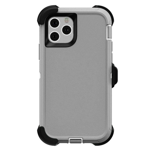 iPhone 11 PRO Hybrid Shockproof Defender Case Cover + Belt Clip Grey/White