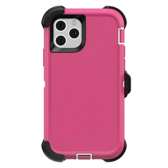 iPhone 11 PRO Hybrid Shockproof Defender Case Cover + Belt Clip Pink/White