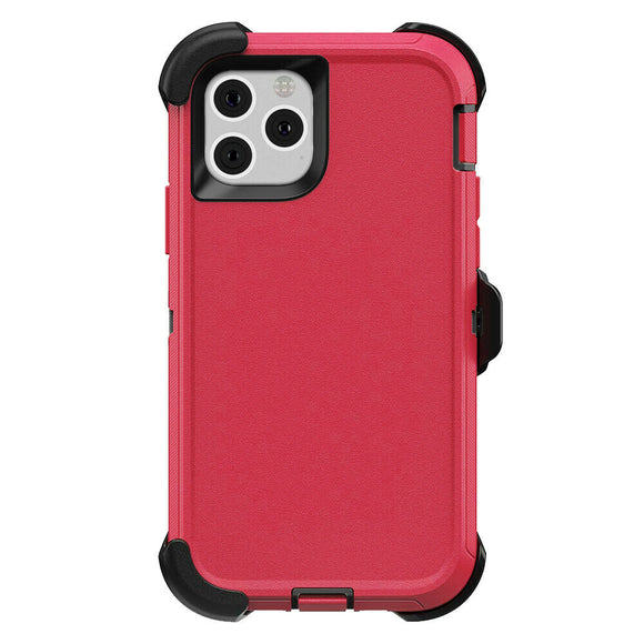 iPhone 11 PRO MAX Hybrid Shockproof Defender Case Cover + Belt Clip  Red/black