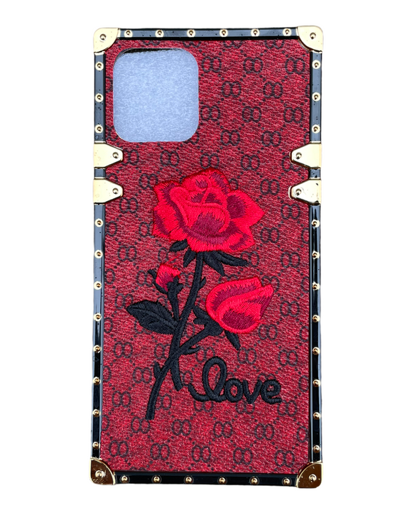 iPhone 12/12 Pro Plaid Rose Red