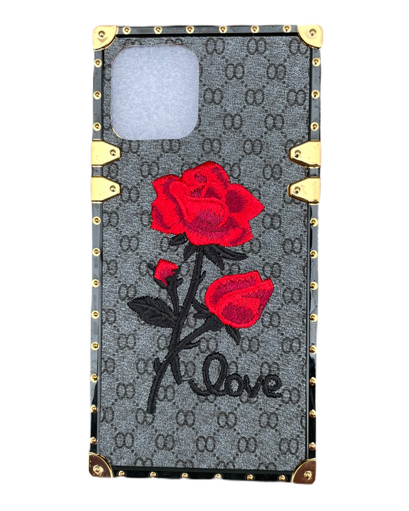iPhone 12 Promax Plaid Rose Black