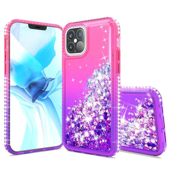 iPhone 12/Pro (6.1 Only) Two-Tone Quicksand Glitter Cover Case - Hot Pink+Purple