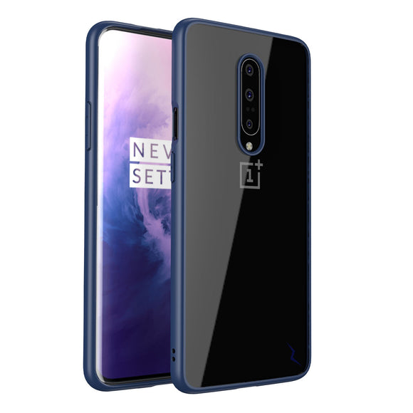 FOR ONEPLUS 7 PRO CASE - REFINE SERIES BY ZIZO SLIM CLEAR WITH PC METALLIC BUMPER-BLUE & CLEAR