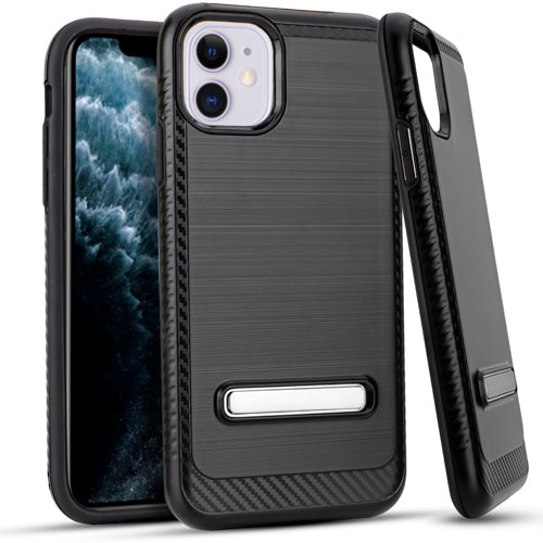 iPhone 11 6.1 Metal Stand Brushed Case Black