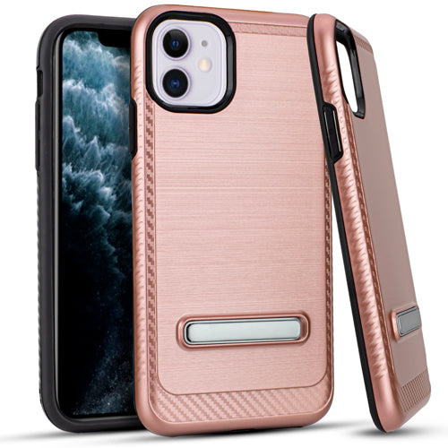 iPhone 11 6.1 Metal Stand Brushed Case ROSE GOLD