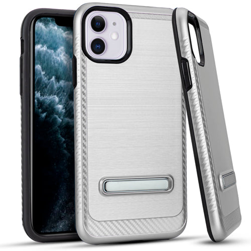 iPhone 11 6.1 Metal Stand Brushed Case Silver