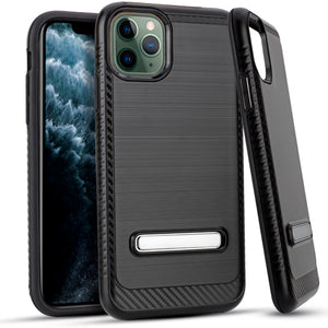 iPhone 11 Pro MAX 6.5 Metal Stand Brushed Case Black