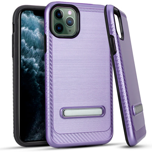 iPhone 11 Pro MAX 6.5 Metal Stand Brushed Case Purple