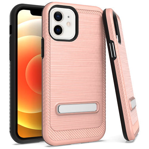 iPhone 12 MINI 5.4 Metal Stand Brushed Case Rose Gold