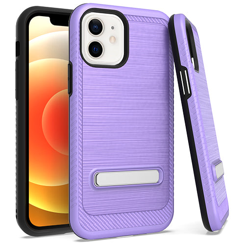 iPhone 12 MINI 5.4 Metal Stand Brushed Case Purple