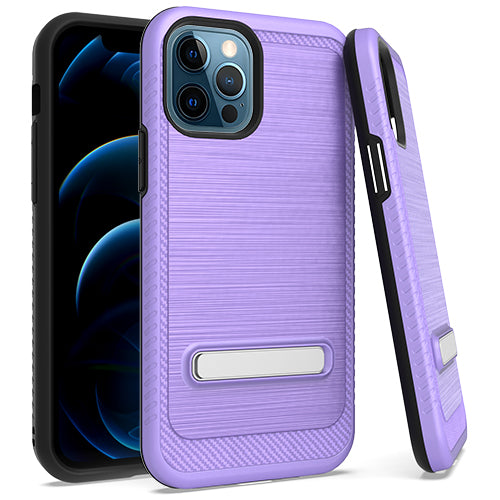 iPhone 12 Pro MAX 6.7 Metal Stand Brushed Case Purple