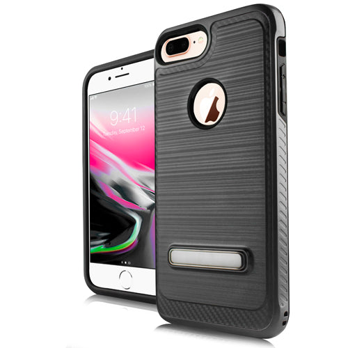 iPhone 8 Plus /7P /6P Metal Stand Brushed Case Black