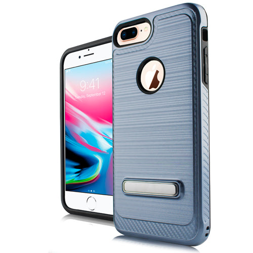 iPhone 8 Plus /7P /6P Metal Stand Brushed Case Dr. Blue