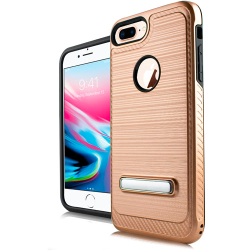 iPhone 8 Plus /7P /6P Metal Stand Brushed Case Rose Gold