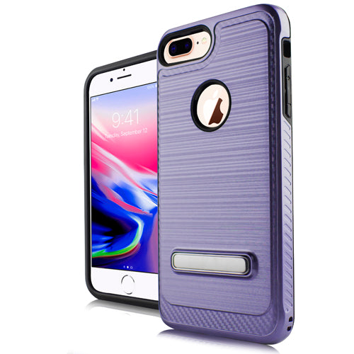 iPhone 8 Plus /7P /6P Metal Stand Brushed Case Purple