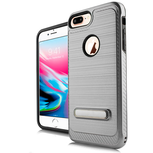 iPhone 8 Plus /7P /6P Metal Stand Brushed Case Silver