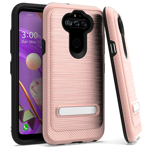 LG Aristo 5 K31 Fortune 3 Metal Stand Brushed Case Rose Gold