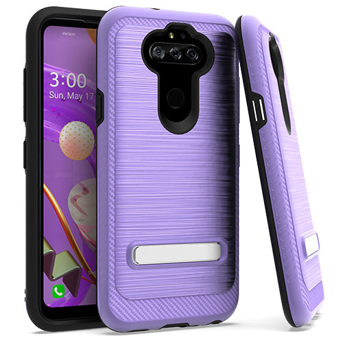 LG Aristo 5 K31 Fortune 3 Metal Stand Brushed Case Purple