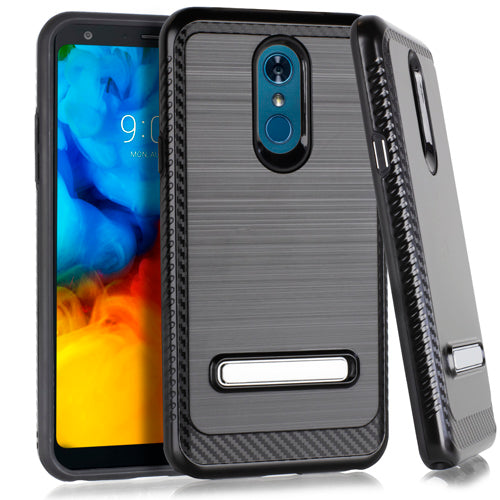 LG Stylo 5 Metal Stand Brushed Case Black