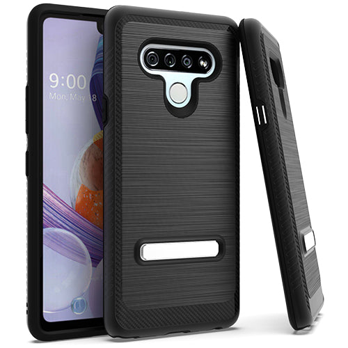 LG Stylo 6 Metal Stand Brushed Case Black
